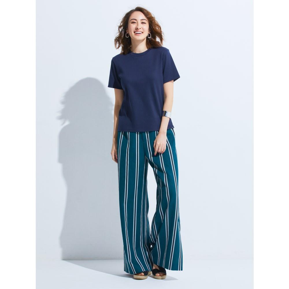 スビンギザコットン ワイドリブ 半袖 Tシャツ (ア)ネイビー コーディネート例