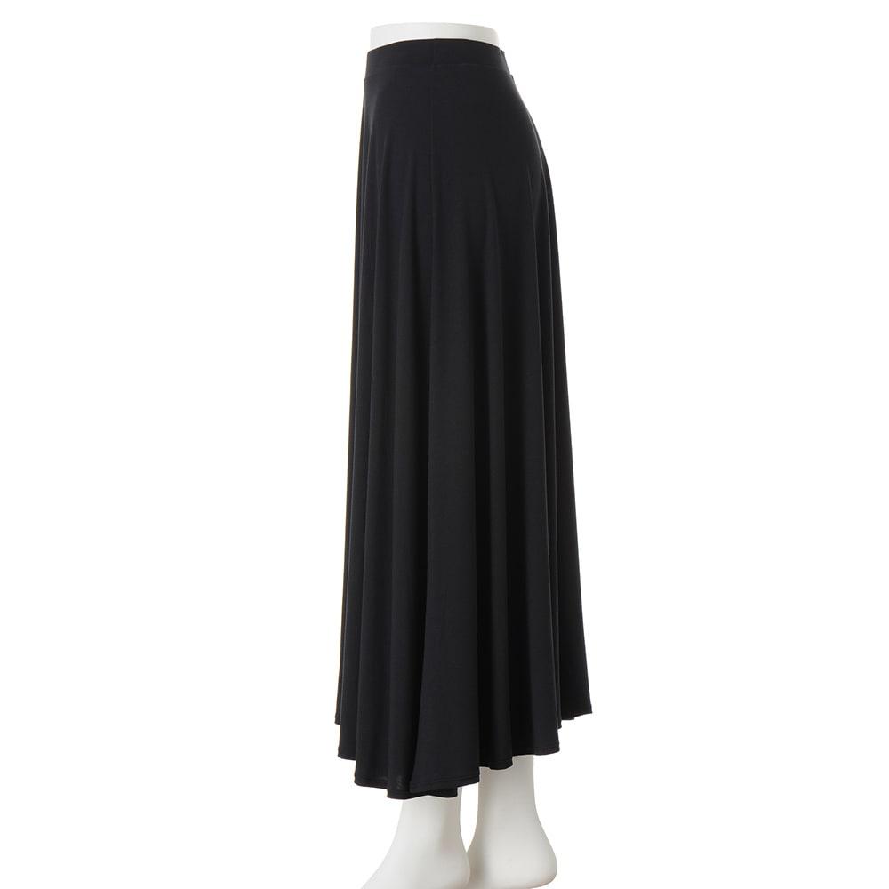 モダールベア天竺 サーキュラー風 スカート (イ)ブラック