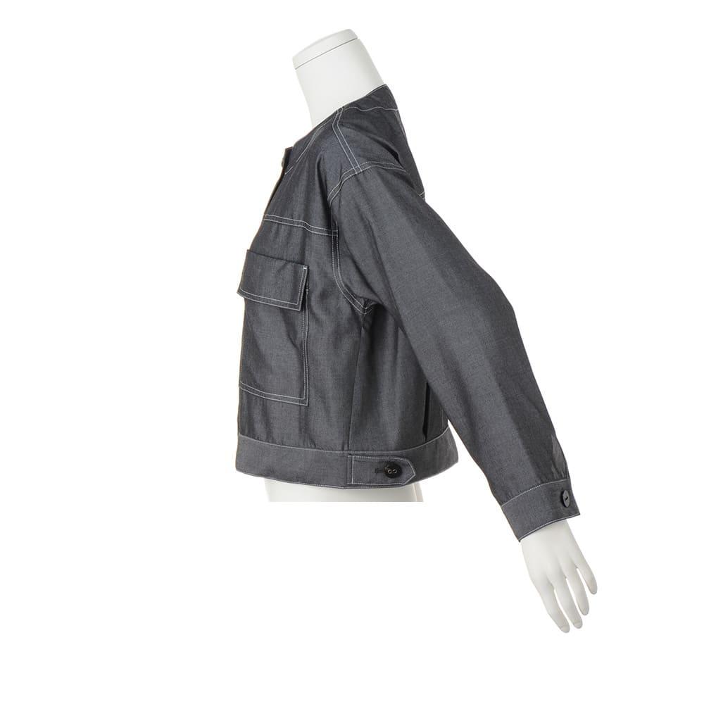 シャンブレー ノーカラー シャツジャケット