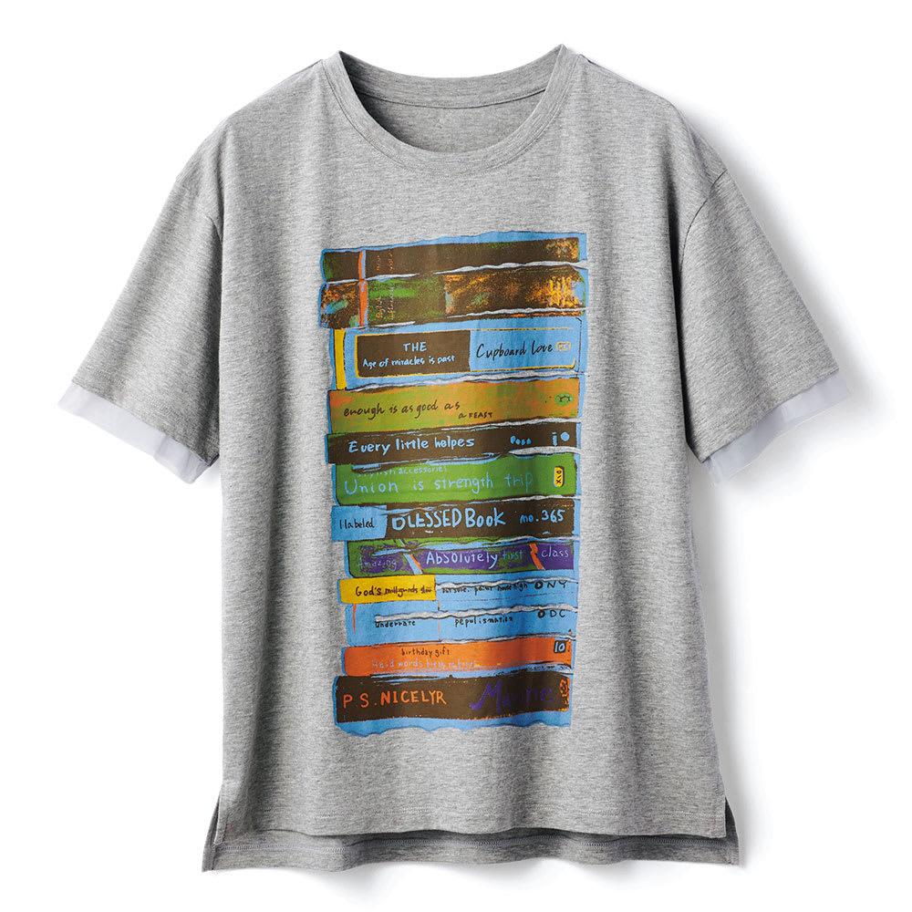 チュール使い アートプリント Tシャツ (イ)グレー