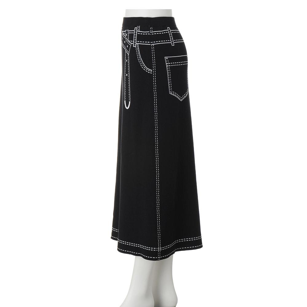 トロンプルイユ(だまし絵) リバーシブル ニットスカート ブラック面