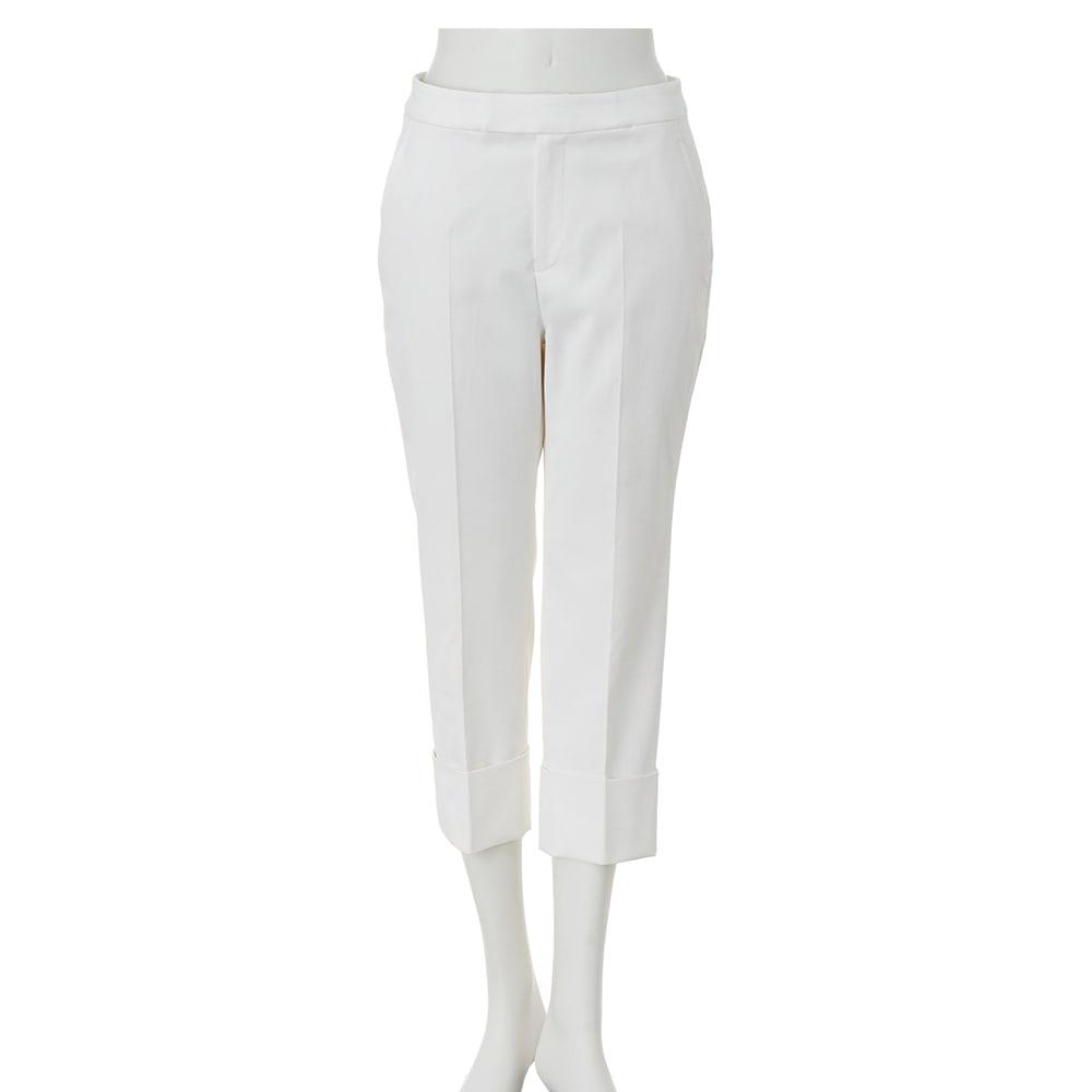 防汚加工 裾ダブル クロップドパンツ (イ)オフホワイト
