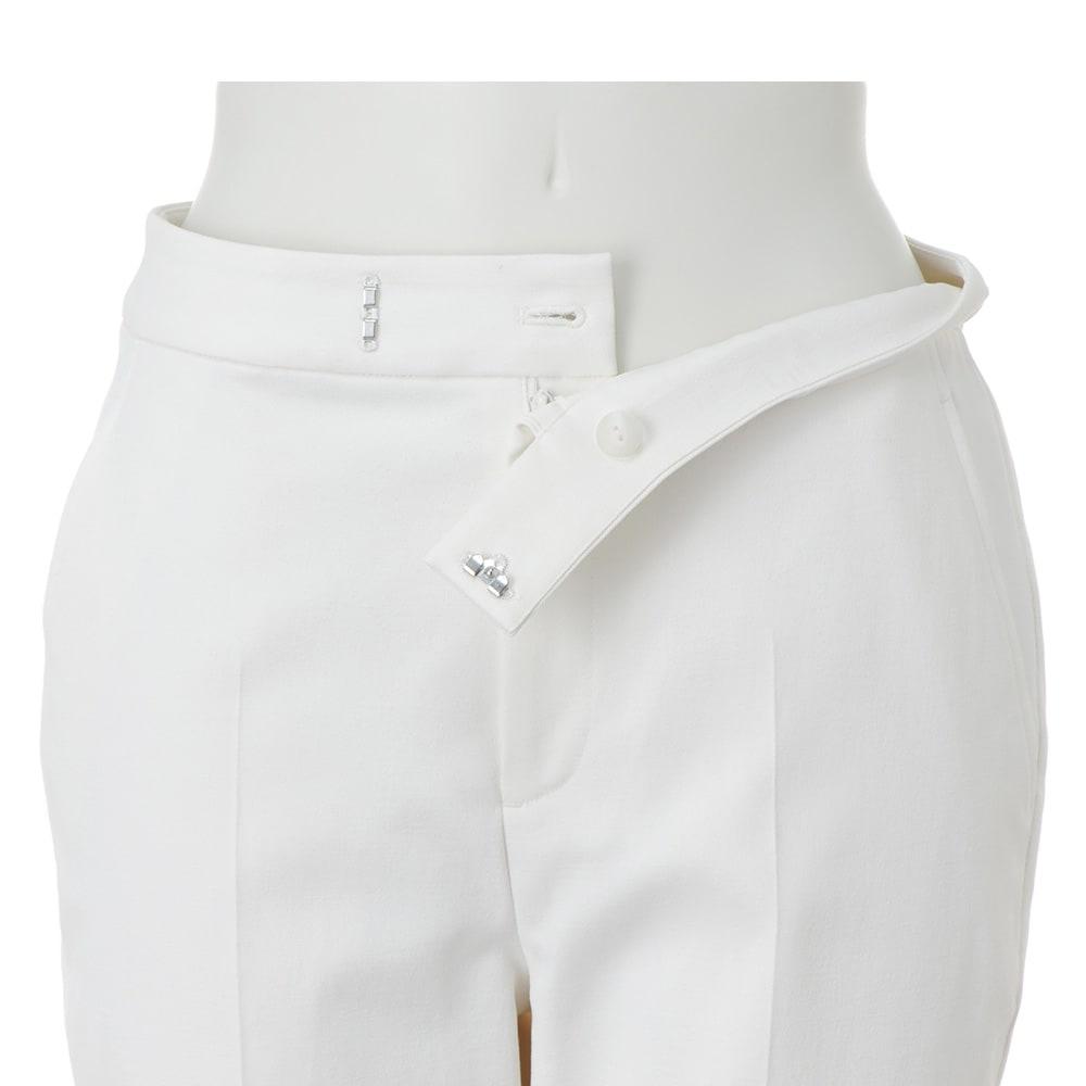 防汚加工 裾ダブル クロップドパンツ