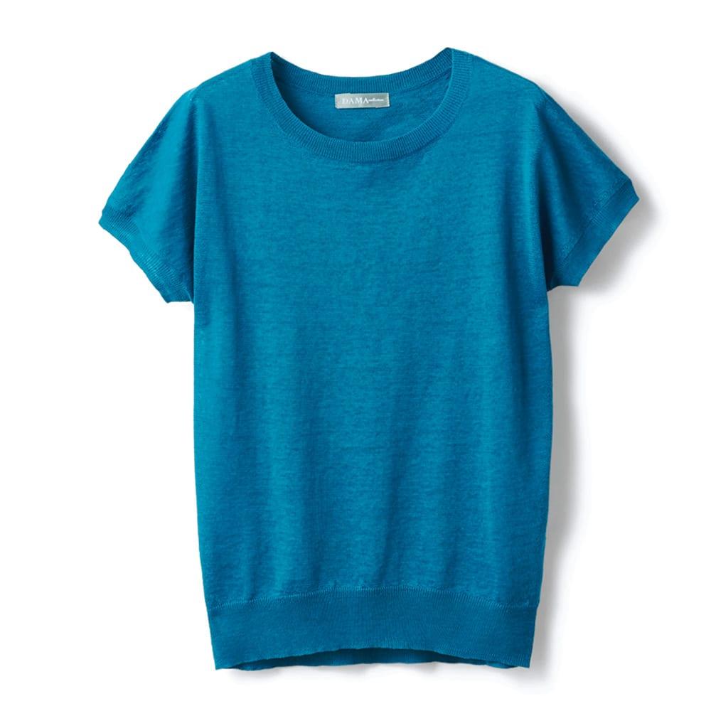 洗えるリネンニット 半袖 プルオーバー (ア)ターコイズブルー