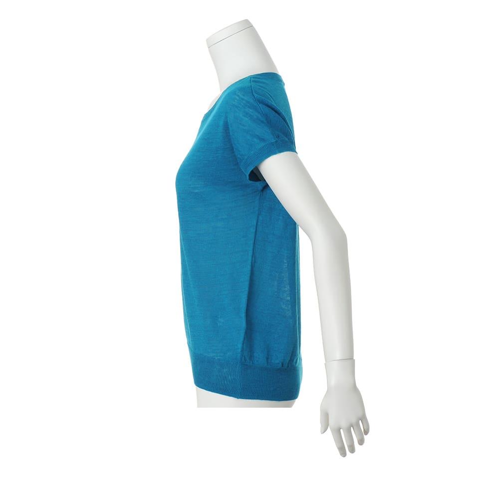 洗えるリネンニット 半袖 プルオーバー