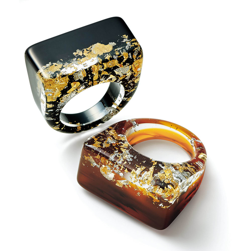 クリア バイカラー リング レディース ブラウン S~M リング・指輪