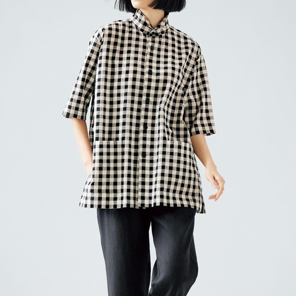 bx/ビーエクス ギンガム オアカラー ビッグシャツ コーディネート例(スタンドカラーにして)