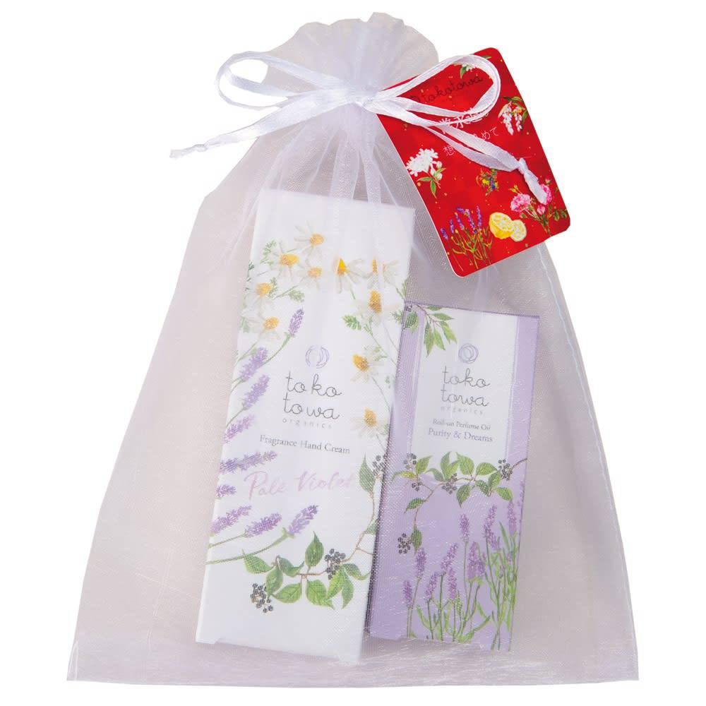 tokotowa organics/トコトワオーガニクス ハンドクリームギフト オーガンジーの袋付き。