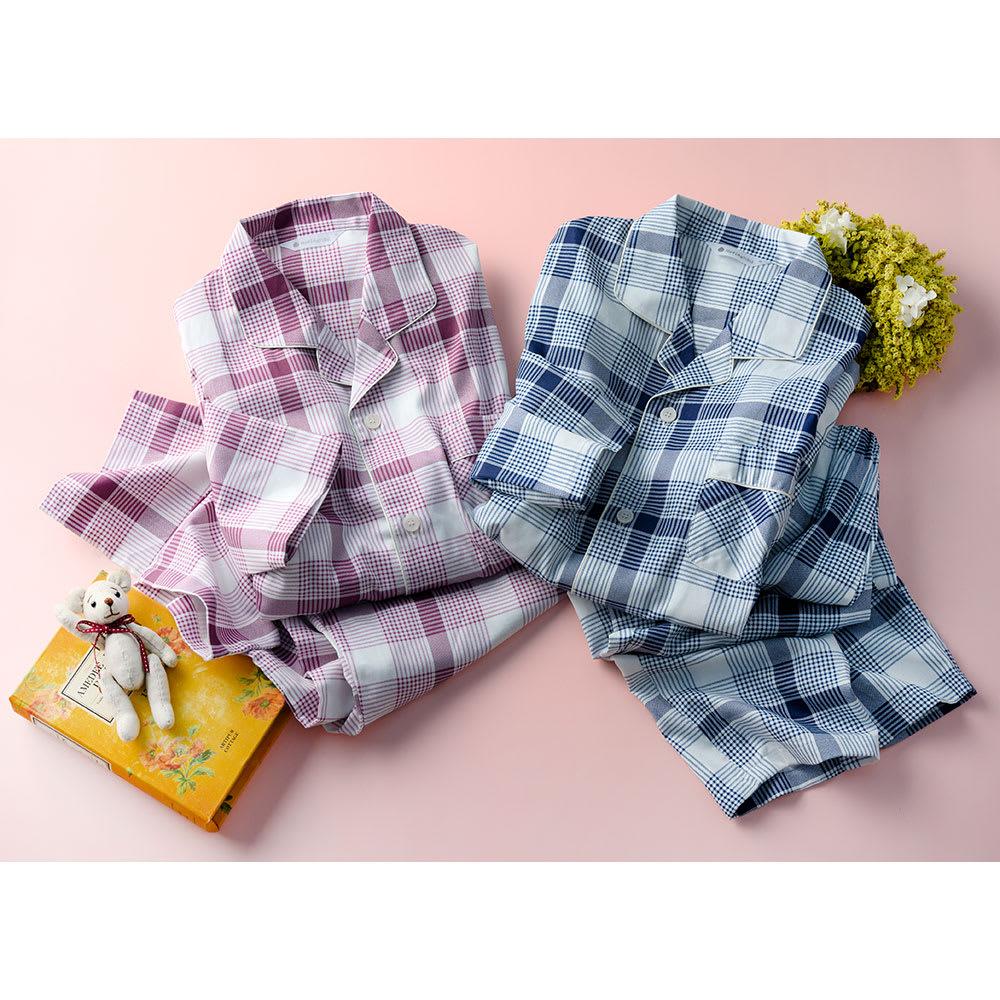 日本製 抗菌防臭チェックパジャマ(男女兼用) レッド M 【通販】