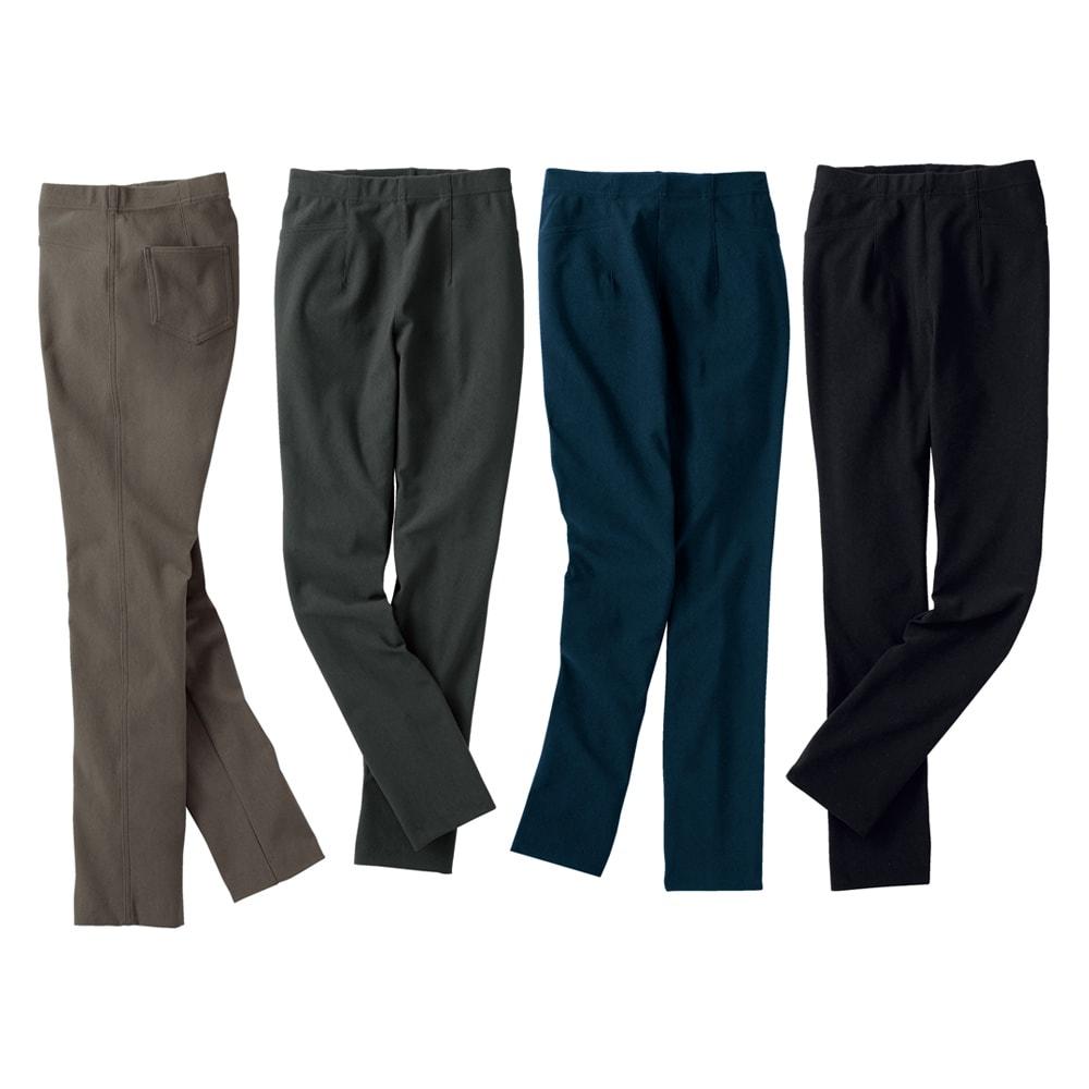 あったか素材 美脚ベーシックレギンスパンツ(日本製) 左から(オ)グレージュ (エ)チャコール (ウ)ネイビー (イ)ブラック