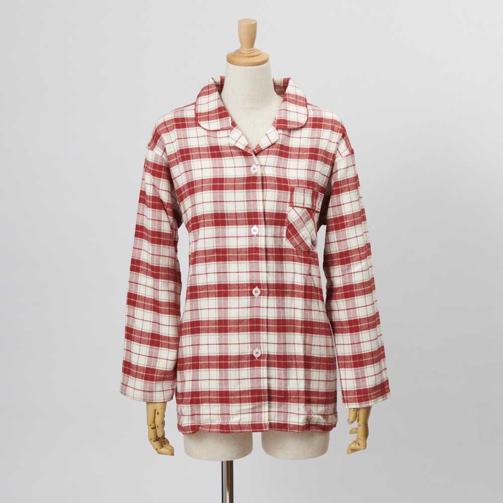 セシール 軽くてあったか中空糸パジャマ(綿100%・日本製) (イ)レッド系・・・シャツFRONT