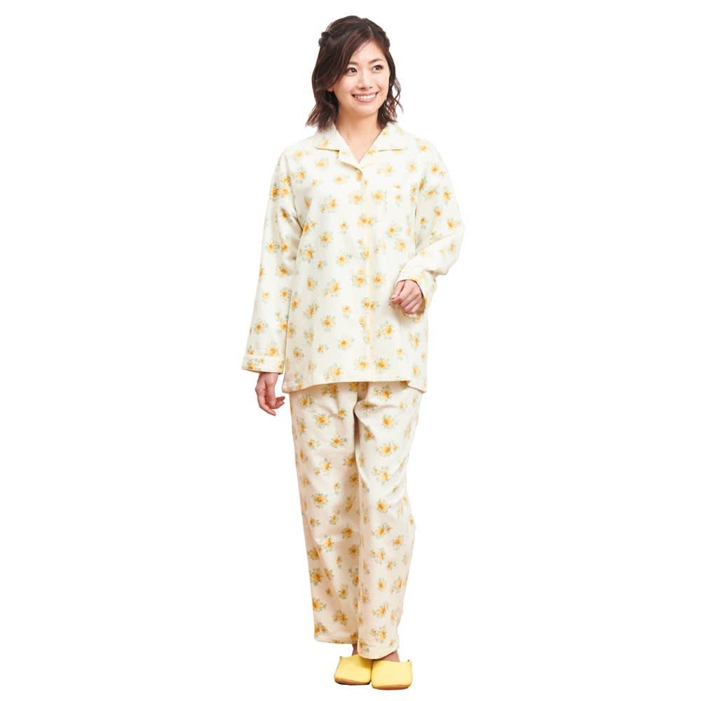 綿毛布シャツパジャマ(日本製) (イ)クリーム