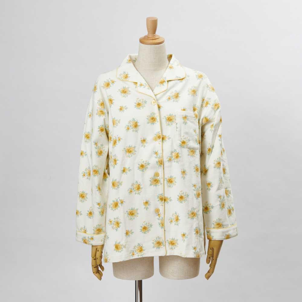 綿毛布シャツパジャマ(日本製) (イ)クリーム・・・シャツFRONT