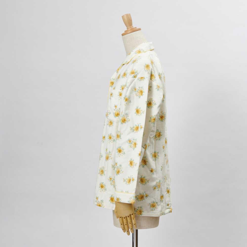 綿毛布シャツパジャマ(日本製) (イ)クリーム・・・シャツSIDE