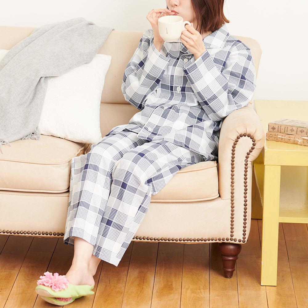日本製 抗菌防臭チェックパジャマ(男女兼用) (イ)ネイビー