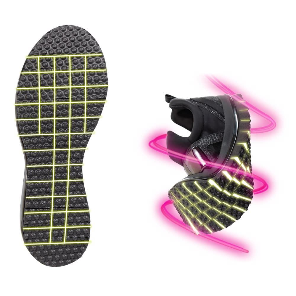 ヌーディウォーク スニーカー(ビジューデザイン) どんな動きにもピタリ!全方向屈曲ソール 360°裸足感覚!屈曲アウトソール 細かく深い切れ込みが入っているアウトソール。着地から蹴り出しまでの足の動きに合わせて屈曲し、しっかりとローリング歩行をサポートします。