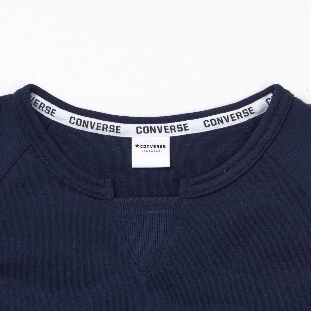 CONVERSE/コンバース 裏シャギーリラックスワンピース キーネックのリブ仕様でワンデザイン!衿元にはコンバースのロゴテープも使用!
