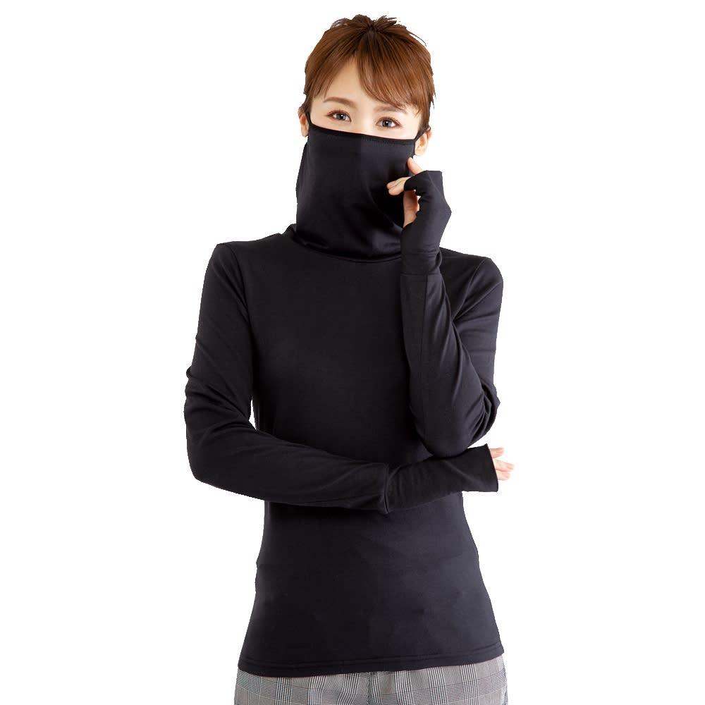 フェイスカバー付き発熱タートルネック ポカリ 2枚組 ブラック M L 【通販】