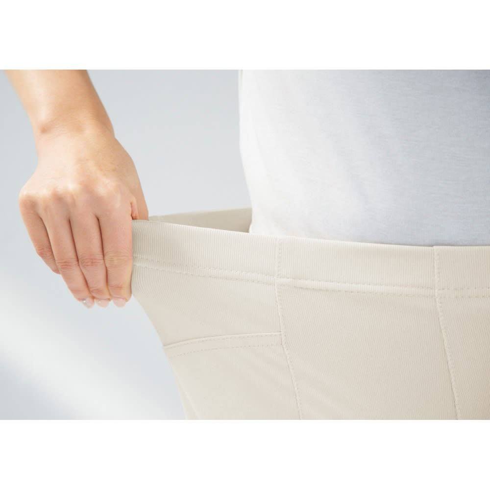多機能素材 美脚ベーシックレギンスパンツ ウエストはラクなのに見えてもきれいなゴムインベル仕様。