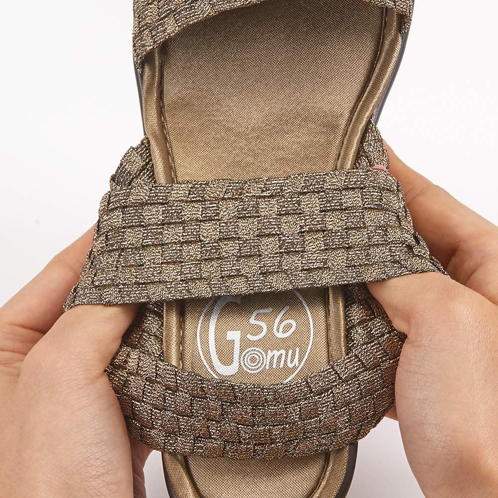 GOMU GOMU/ゴムゴム 厚底ストラップサンダル ゴムメッシュが締めつけることなく固定して歩きやすく。