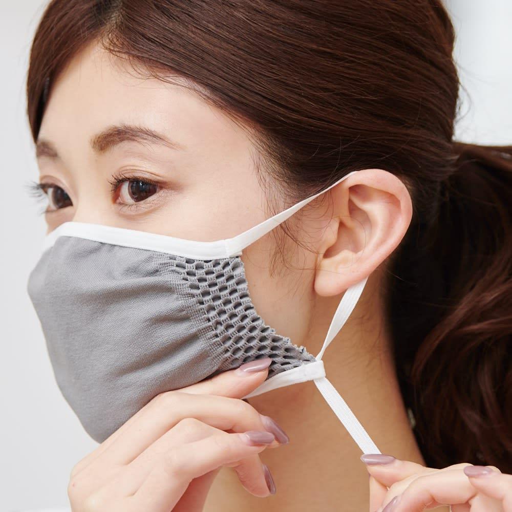 飛沫対策マスク (同色3枚組) 【耳が痛くなりにくいストラップ】 肌にやさしい素材、長さ調節自在のストラップで、耳が痛くなりにくいのもうれしい。