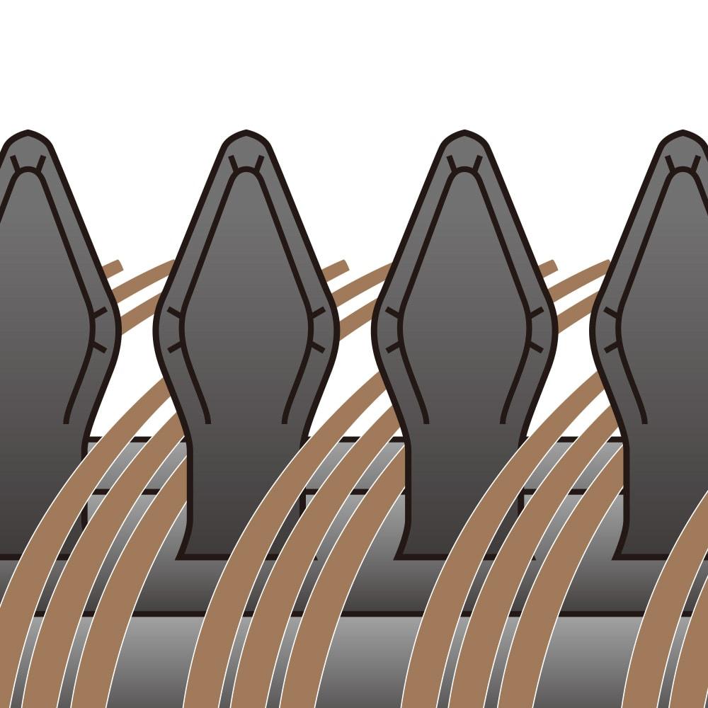 クレイツイオン(R)ロールブラシアイロン キャッチ&カール 26mm ラバーピンが髪をキャッチするからスタイリングしやすい ブラシ部のピンの間にはひし形のラバーピンが。髪をとらえた時に、髪がピンの間から抜けるのを防ぎます。