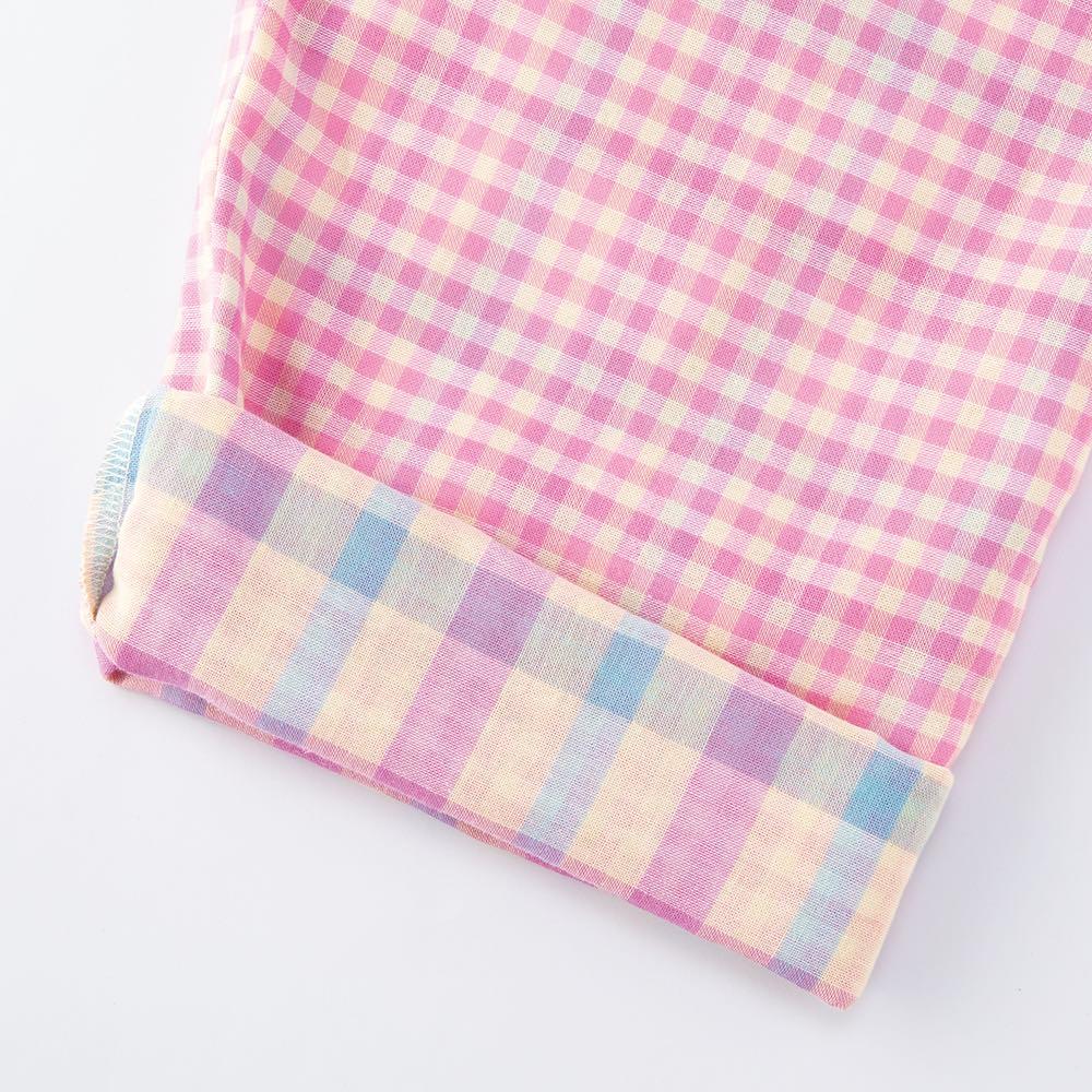 ダブルガーゼ シャツパジャマ 袖口や裾を折り返しても。