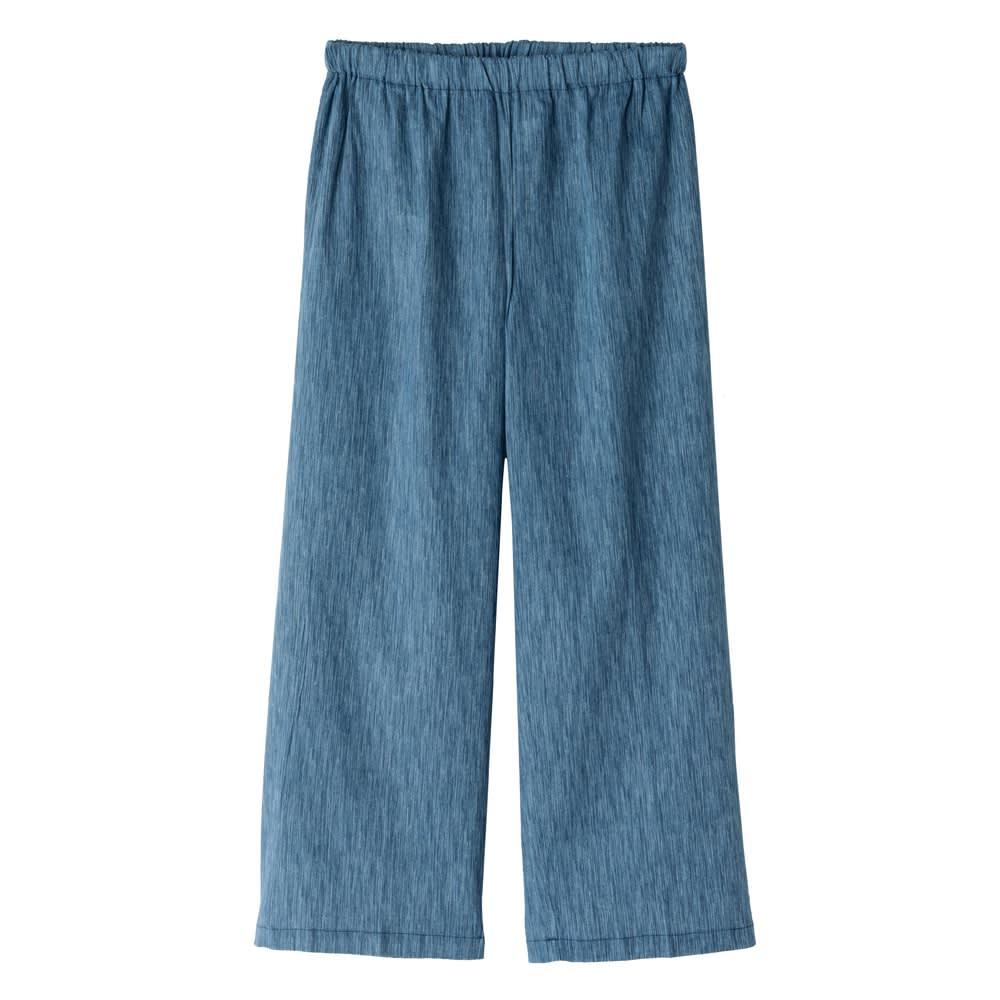 高島ちぢみ リラックスパンツ (ア)ブルー 後ろポケット付き&ウエストゴムでらくちん♪