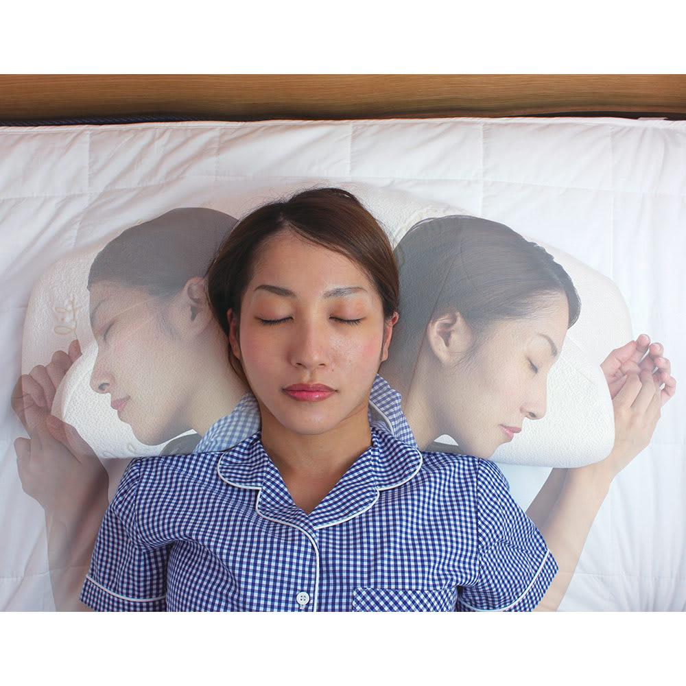 自然体で眠れる枕 カバー2枚付きのお得なセット 寝返りが打ちやすいなだらかな曲線