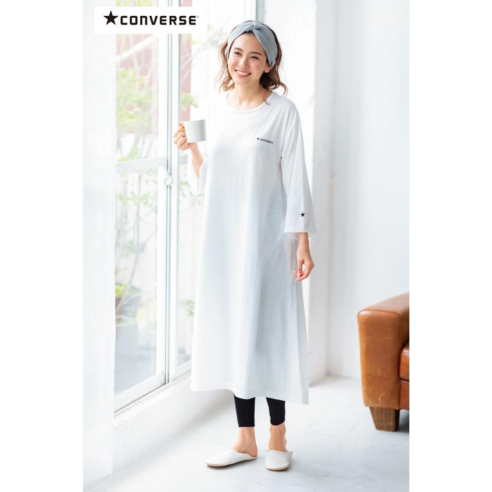 CONVERSE/コンバース ホームウエア リラックスフレアワンピース (ア)オフホワイト コーディネート例