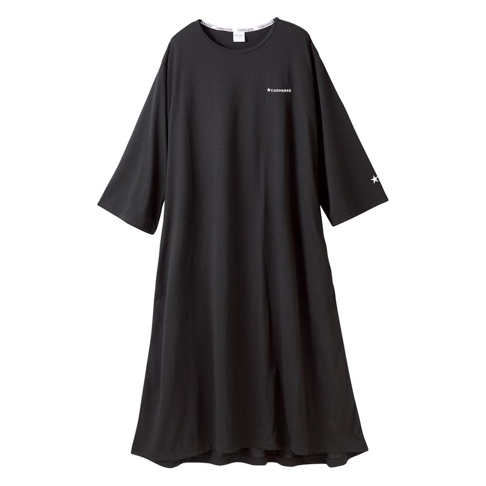 CONVERSE/コンバース ホームウエア リラックス フレアワンピース (イ)ブラック ふんわりAラインで体を締め付けないワンピースはワイドな袖口やイレギュラーな裾でおしゃれ感がアップ。両サイドのシームレスポケットも便利です。