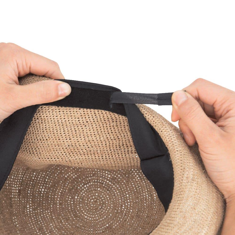 ラフィア帽 サイズ調整が可能 その人にピッタリ合うようサイズ調整が可能。