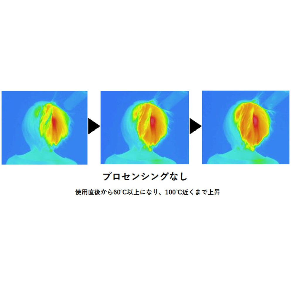 ReFa/リファビューテック ドライヤー ※温度22±1℃、湿度±5%の環境下で実施。頭部から送風口が5cm離れるようにドライヤー(ReFa BEAUTECH DRYER)を固定。サーモグラフィカメラ(日本アビオニクス社)を使用し、髪表面の温度変化を測定。(メーカー調べ)