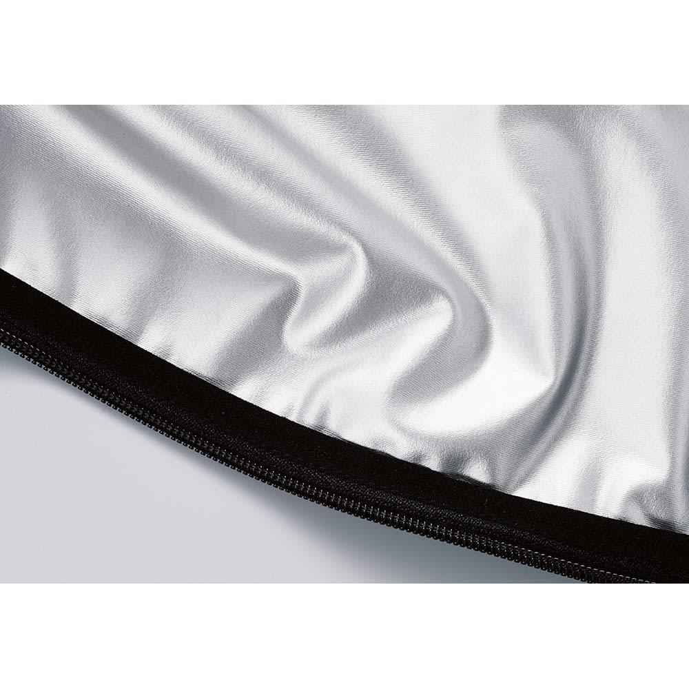 SIXPAD/シックスパッド サウナスーツ [POINT 1] 効率よく発汗を促す「気密性」 カラダの熱を閉じ込めるため、通気を遮断する素材を使用。