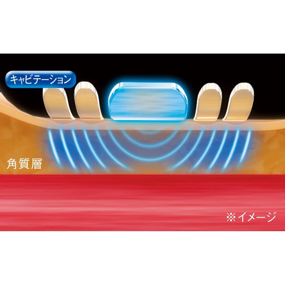 キャビスパ360(サンロクマル) 本体 【業務用レベルのキャビテーション】 カーブフォルムの電極が肌に沿うように密着した状態で、1秒間に約33万回の超音波を放出。気になる部分を刺激します。