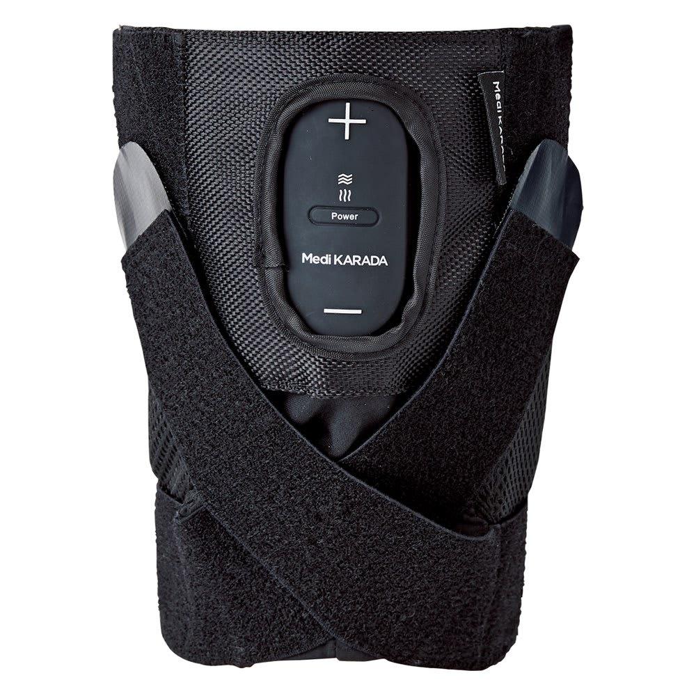 Medi KARADA/メディカラダ ひざ用EMSサポーター ひざを曲げる時のストレスに対応 S~M・L~LLの2サイズ展開。歩行や屈伸によるズレを防ぐクロスサポートベルトで、締め付け感を調整して。縦に伸びた2本のボーンが関節をサポート。