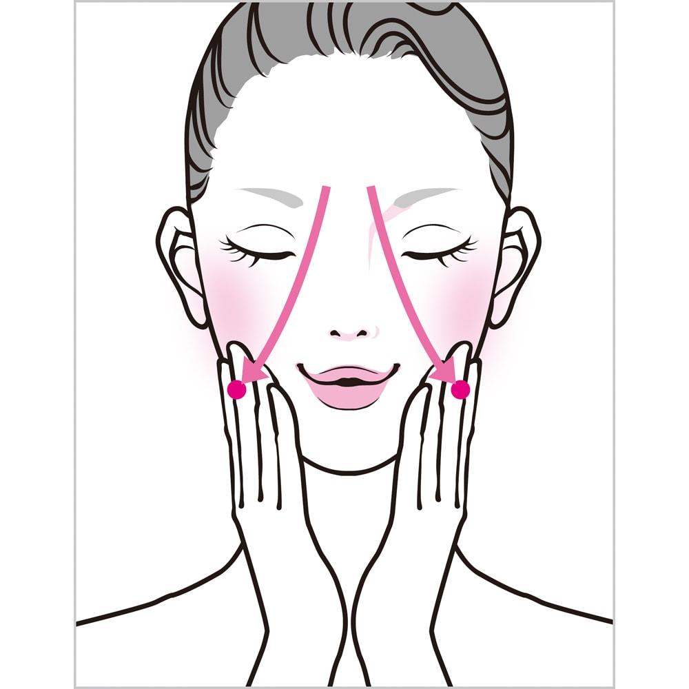 TSUDA SETSUKO T'sマッサージウォッシュジェル 100g マンディブラーノッチへ流す 顔全体にジェルを塗り、手のひら全体を押し当て、こめかみを通り(3)まで流す。続いて、両手で鼻を覆い、目の下から手のひら全体を頬に押しつけ、軽い圧をかけながら(3)まで流す。