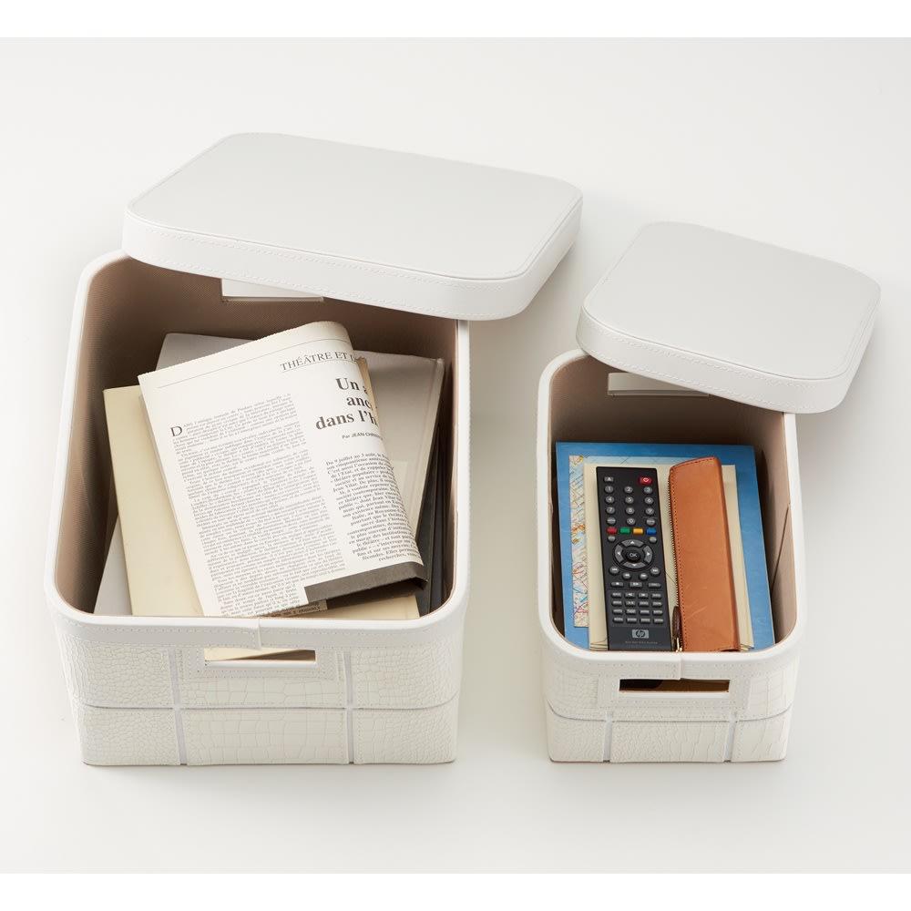 レザー調ボックス 大 1個 (イ)ホワイト ※お届けは左側の大サイズです。雑誌や新聞をいれるのにぴったりです。