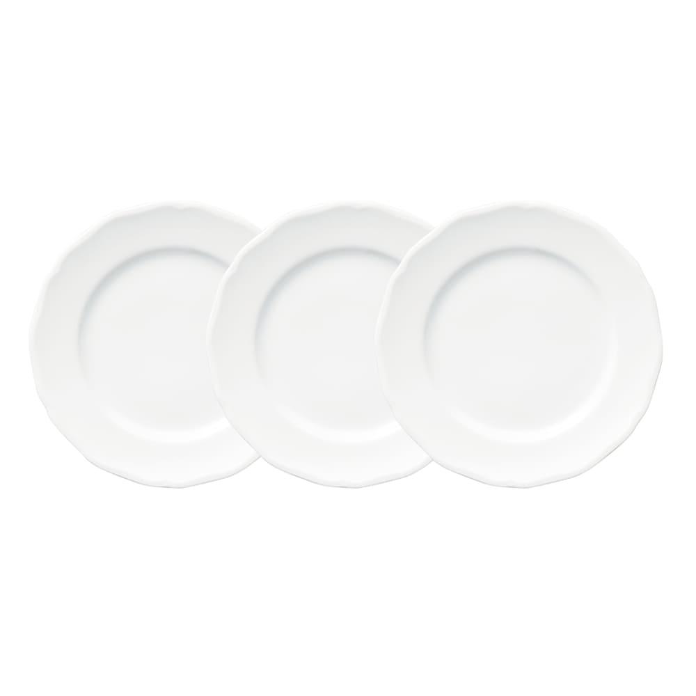 オードブルスタンド シルバー(皿なし) 縁のフリル形状が美しいぴったりサイズのお皿(3枚組・直径19cm) ※別売りになります。申込番号7146-08