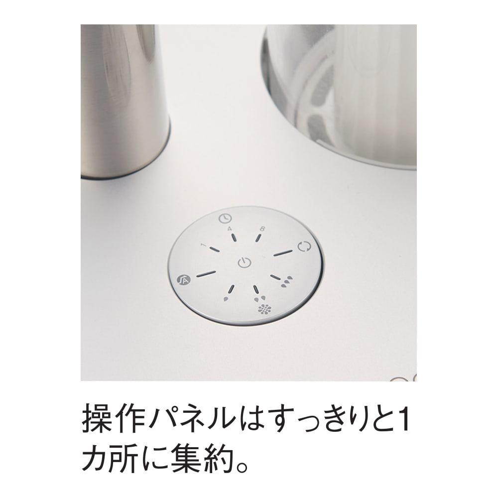 cado/カドー 加湿器(ピーズガード対応モデル) 本体 操作ボタンは一か所にまとめました。美しいアルミのトップパネル部分にすべて集約されたシンプルなデザイン。