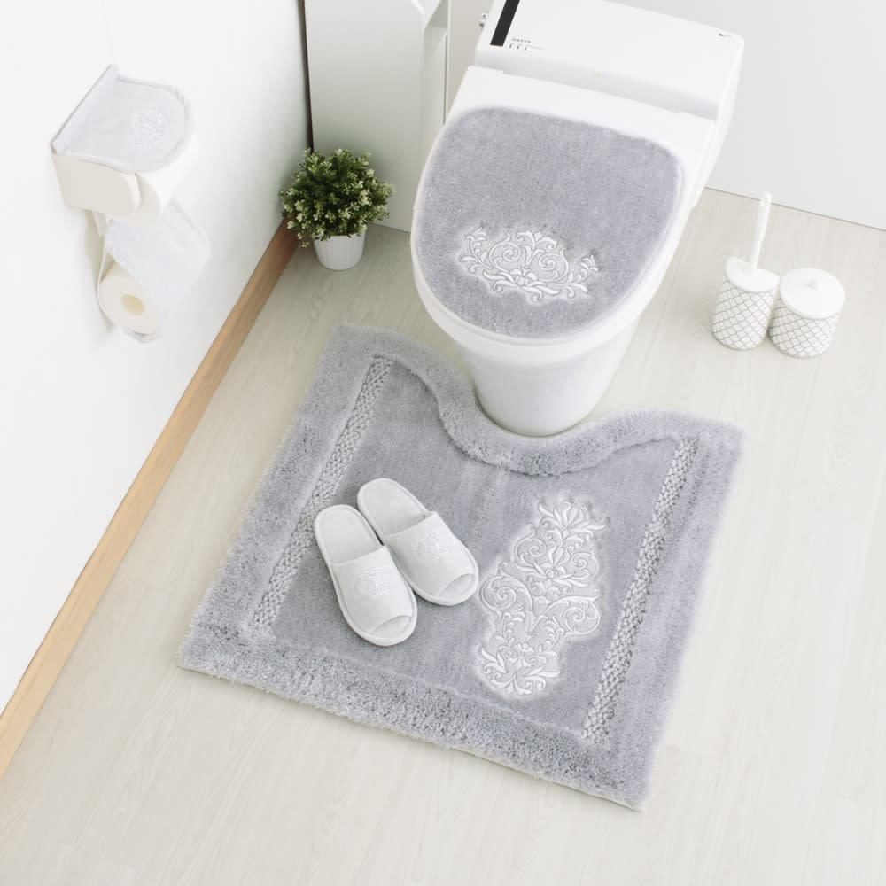 クラッシーデコトイレタリー トイレマット(単品) [コーディネート例] (ウ)グレー ※お届けはトイレマットです。
