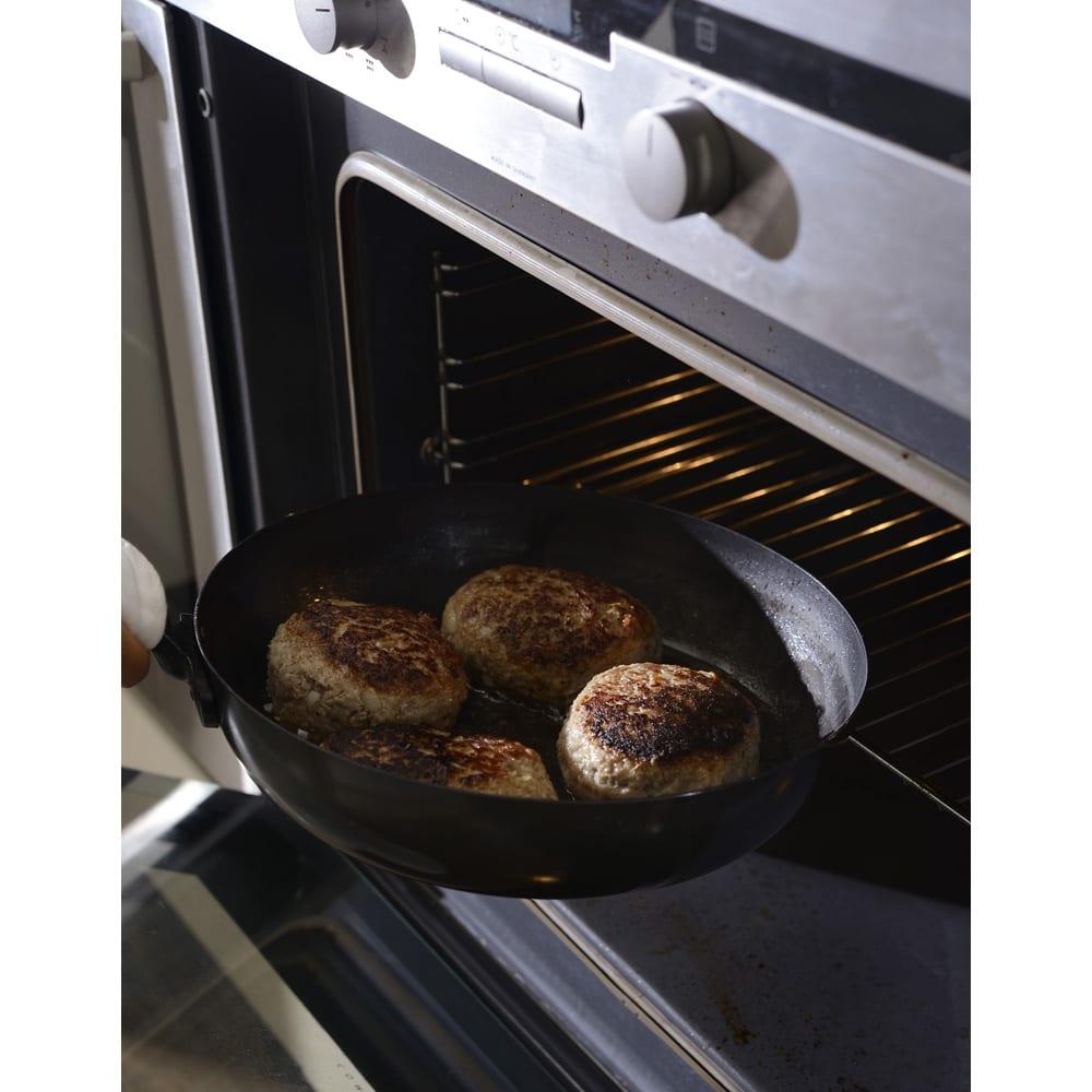 有元葉子の鉄のフライパン 片手径18cm ハンドルが短いのでそのままオーブンに入れることもできます。