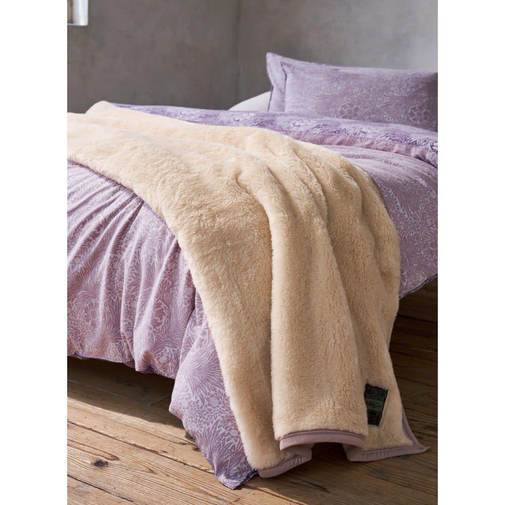 ピュア・モリス ウールマイヤー毛布 [コーディネート例] (ア)ベージュ ※お届けは毛布です。