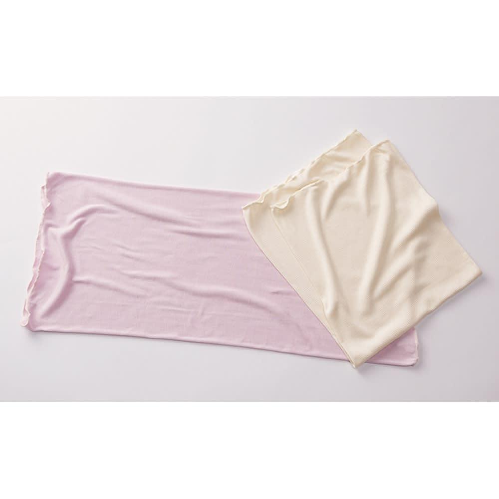 シルクの枕カバー 色違いのお得な2枚組 左から(イ)パープル (ア)クリーム