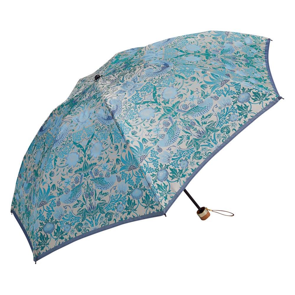 V&A モリス  いちご泥棒 ジャカード生地晴雨兼用傘 折りたたみ傘 (ウ)ライトブルー
