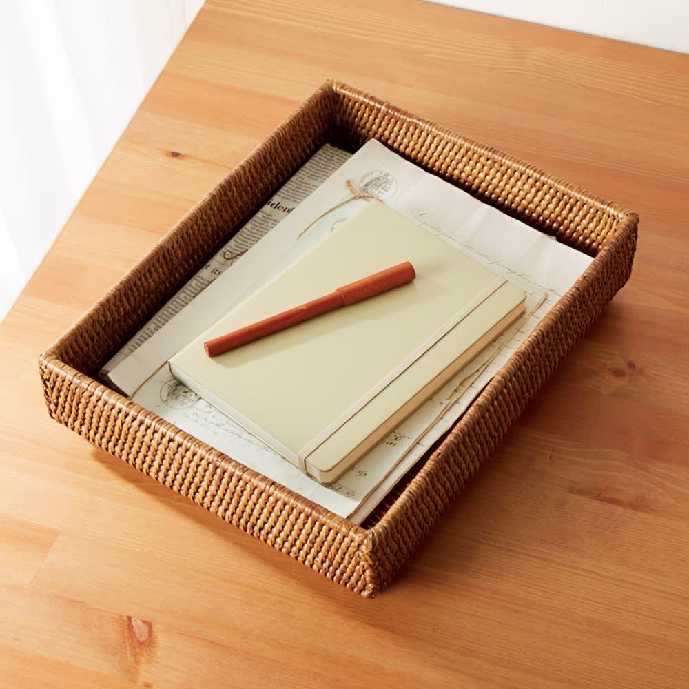 ミャンマーラタントレー お得な2個組(大×2) 書斎やリビングの書類や雑誌類もスッキリ。