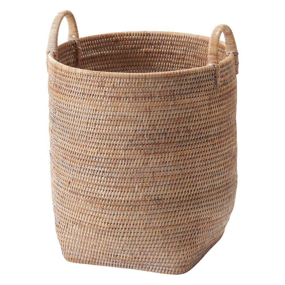 ミャンマーラタンバスケット L(たて型) (イ)ホワイトウォッシュ