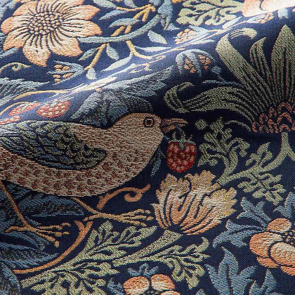 モリスデザインスタジオ ジャカード織 はっ水テーブルランナー〈いちご泥棒〉約64×180 生地アップ