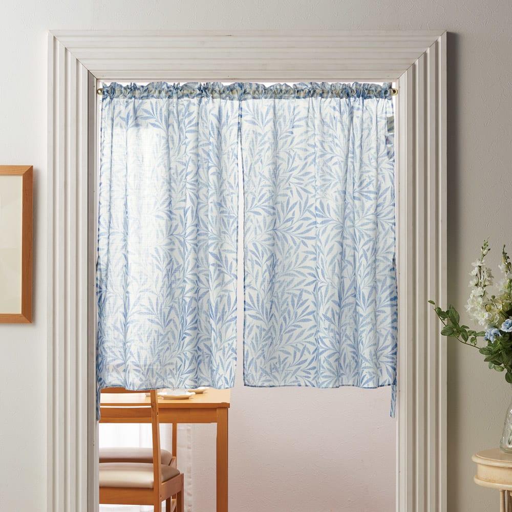 モリス柄モチーフのれん ウィローシアー・ブルー ※写真は幅145丈90cmです。