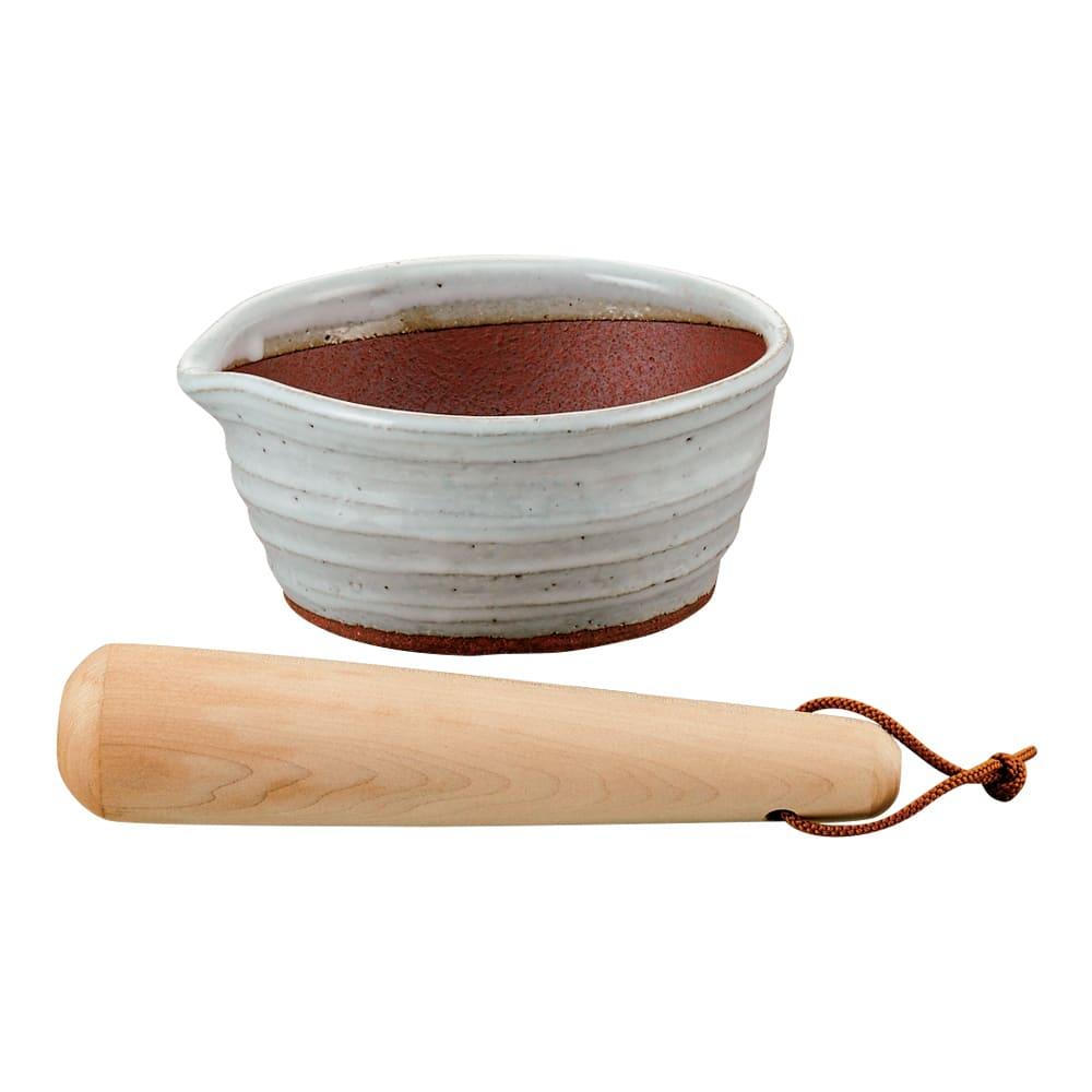 万古焼の溝のないすり鉢とすりこ木 約直径15.5cm 743703
